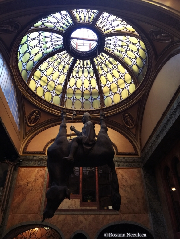 This statue is located in Lucerna Palace and is an intriguing creation by David Cerny. It is supposed to be St. Wenceslas, the patron saint of Bohemia.